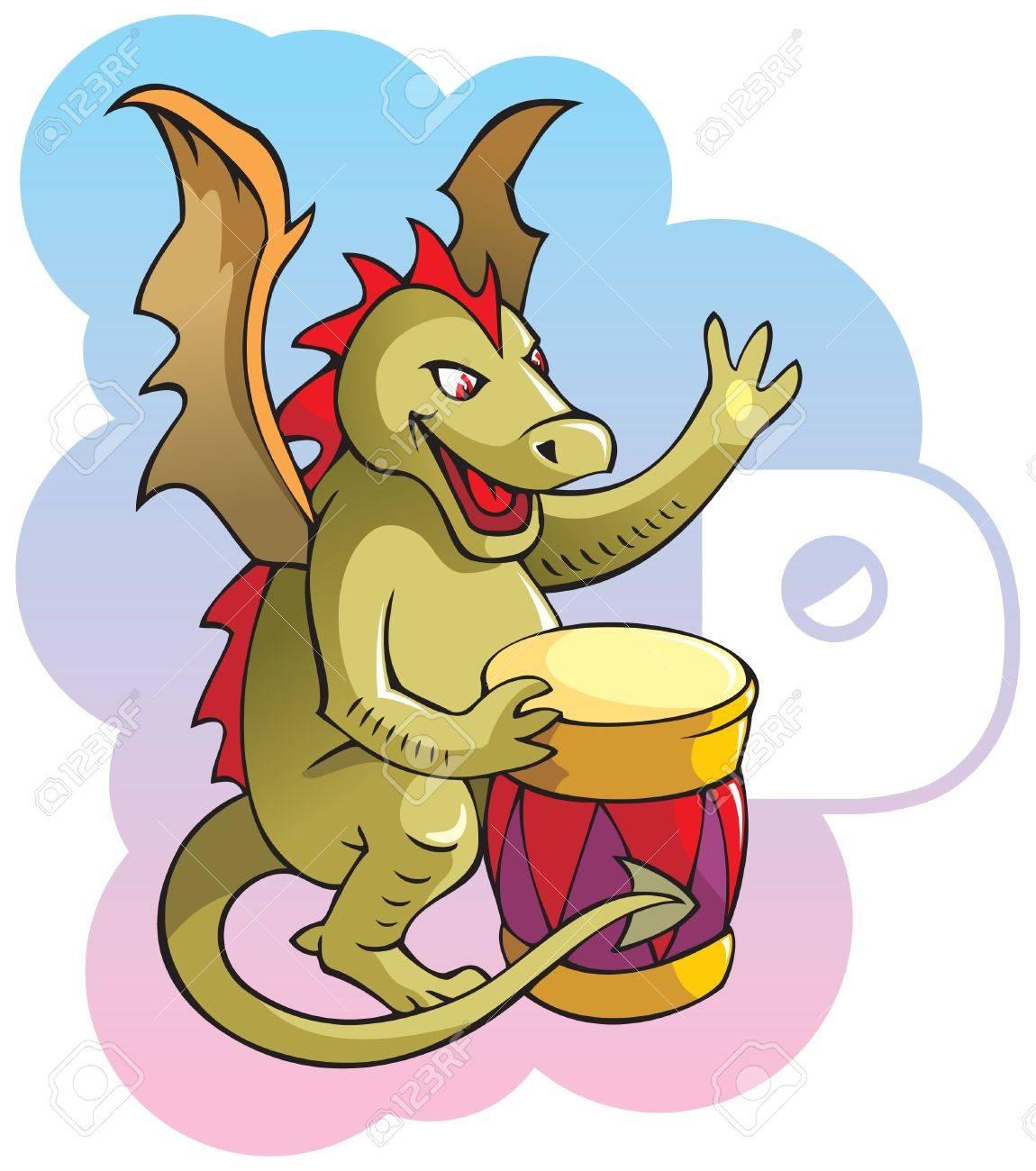 Series of Children alphabet: letter D, dragon and drum Stock Vector - 7114810