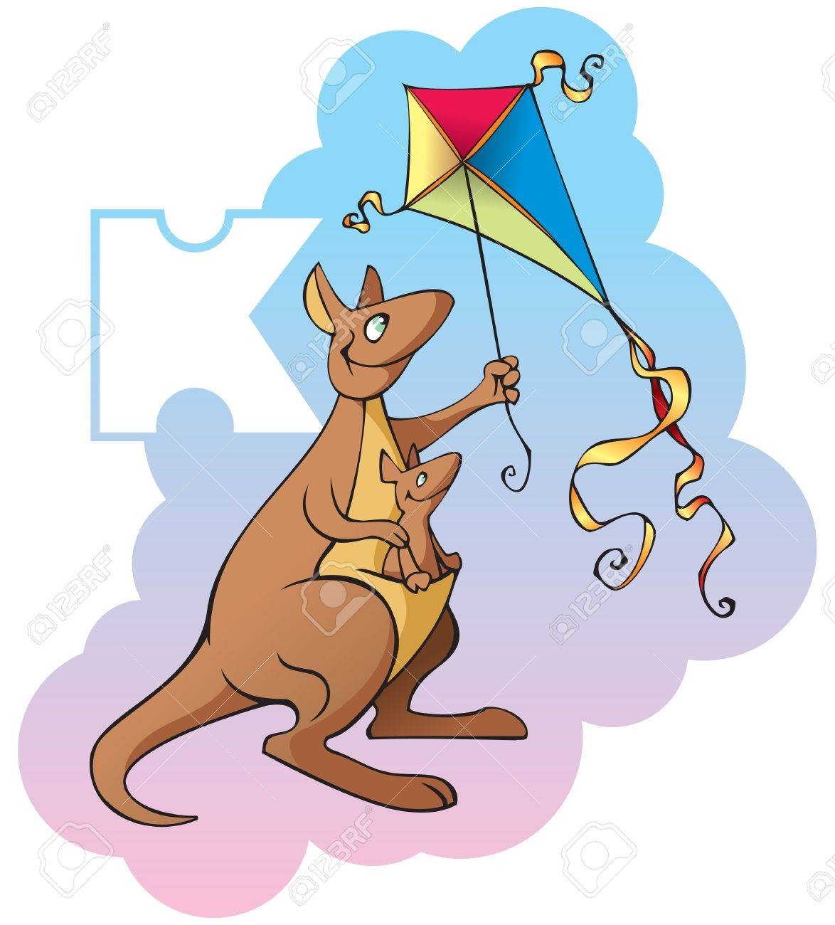 series of children alphabet letter k kangaroo and kite cartoon illustration stock vector