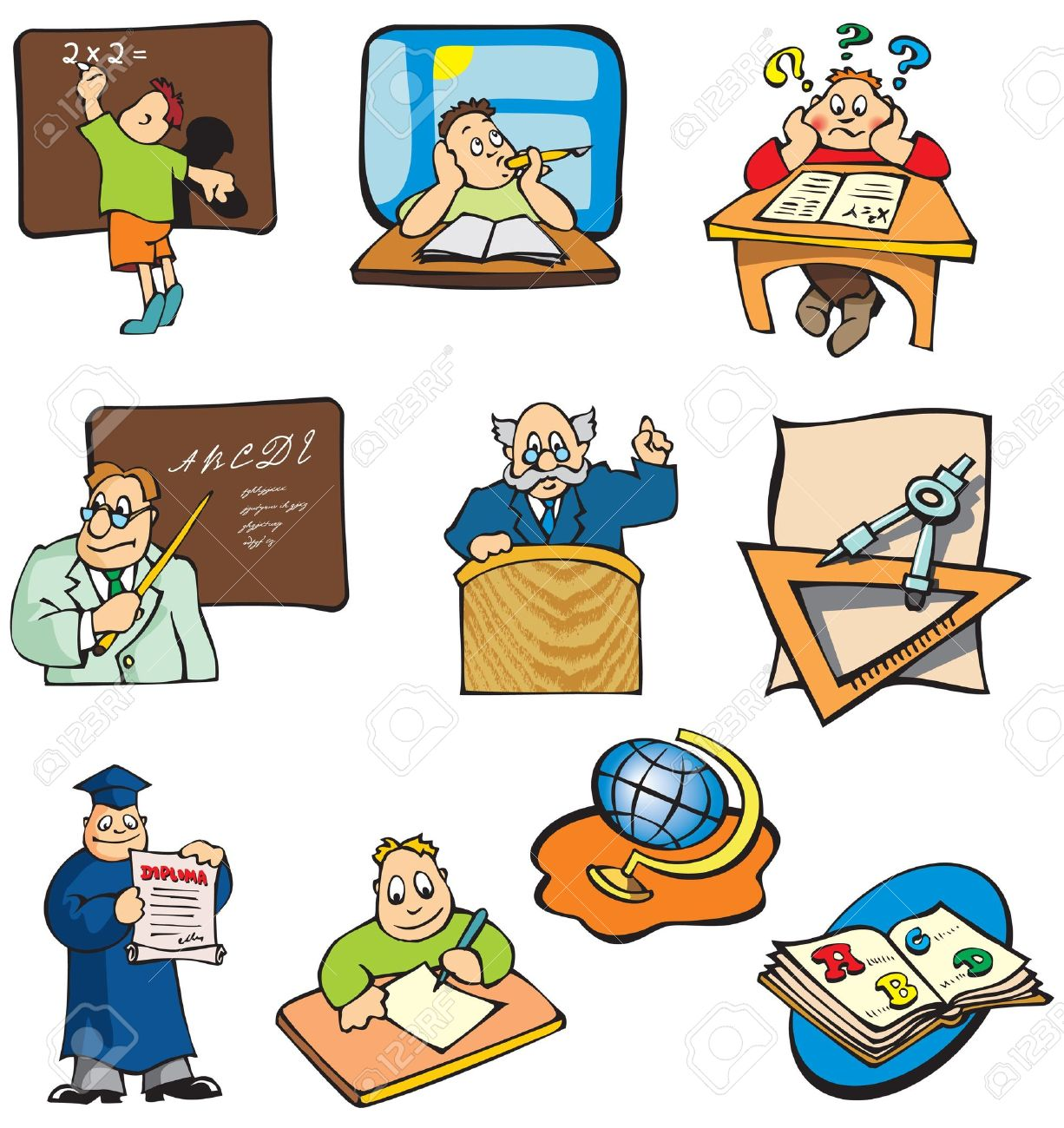 Collection Of Education Cartoon Pictures Students Teachers Royalty Free Cliparts Vectors And Stock Illustration Image 7237290