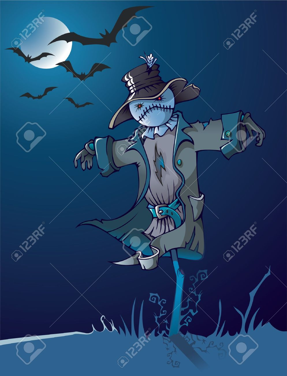 Evil scarecrow under the moon, night scene, cartoon illustration Stock Vector - 8028374