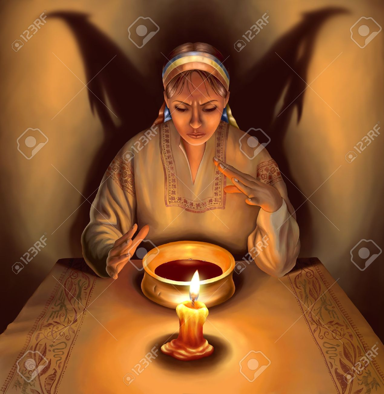 Witch dressed in traditional Ukrainian (Russian) clothes casting spells, with shadow in the form of demonic wings behind her, illustration Stock Illustration - 8251395