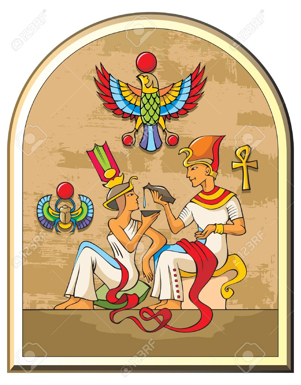Stylized illustration of life in ancient Egypt, the pharaoh and the empress, papyrus background, symbols of falcon and scarab Stock Vector - 8359128