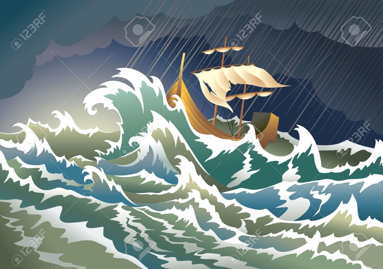 Ship sinking in the storm Stock Vector - 8359126