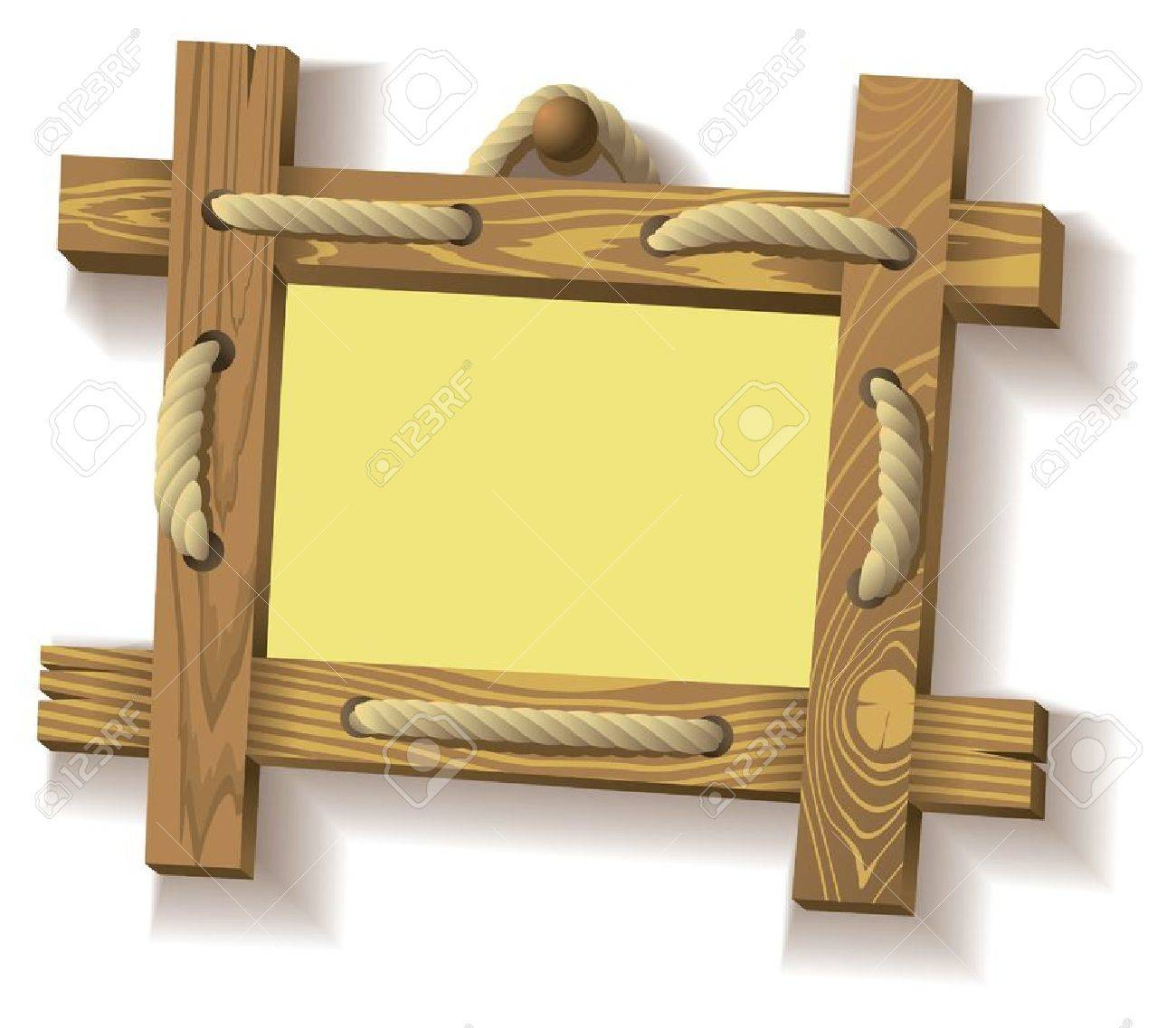 Frame Of Wooden Boards Hanging On Crude Rope, Vector Illustration ...