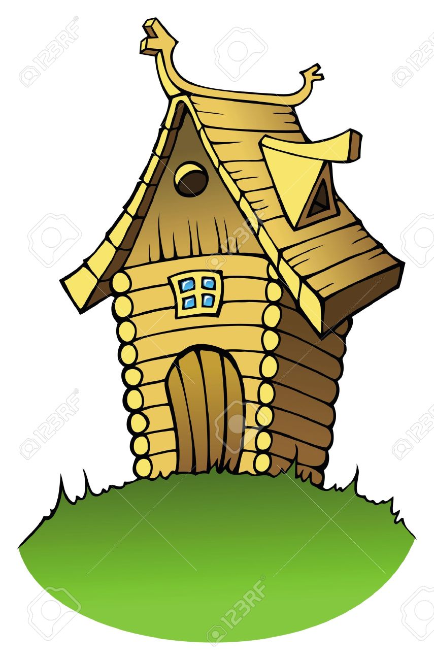 Wooden House Or Cottage In Cartoon Style Vector Illustration Stock