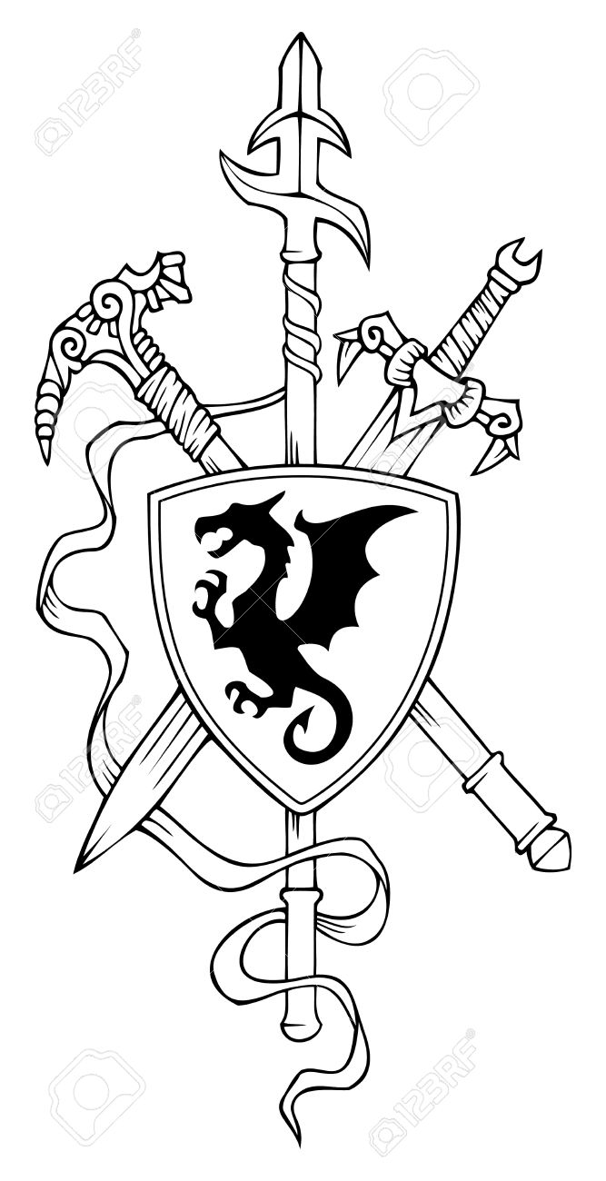 Coat of arms: spear, sword, hammer and shield, vector illustration Stock Vector - 11408754
