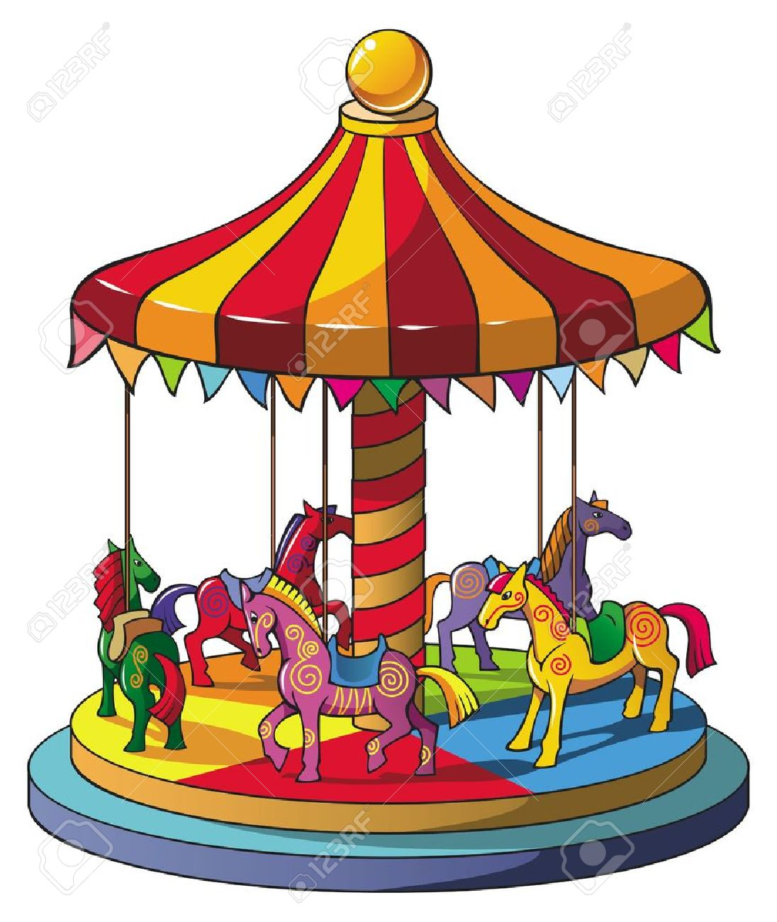 children carousel with colorful horses merry go round vector rh 123rf com carousel clipart black and white carousel clipart black and white
