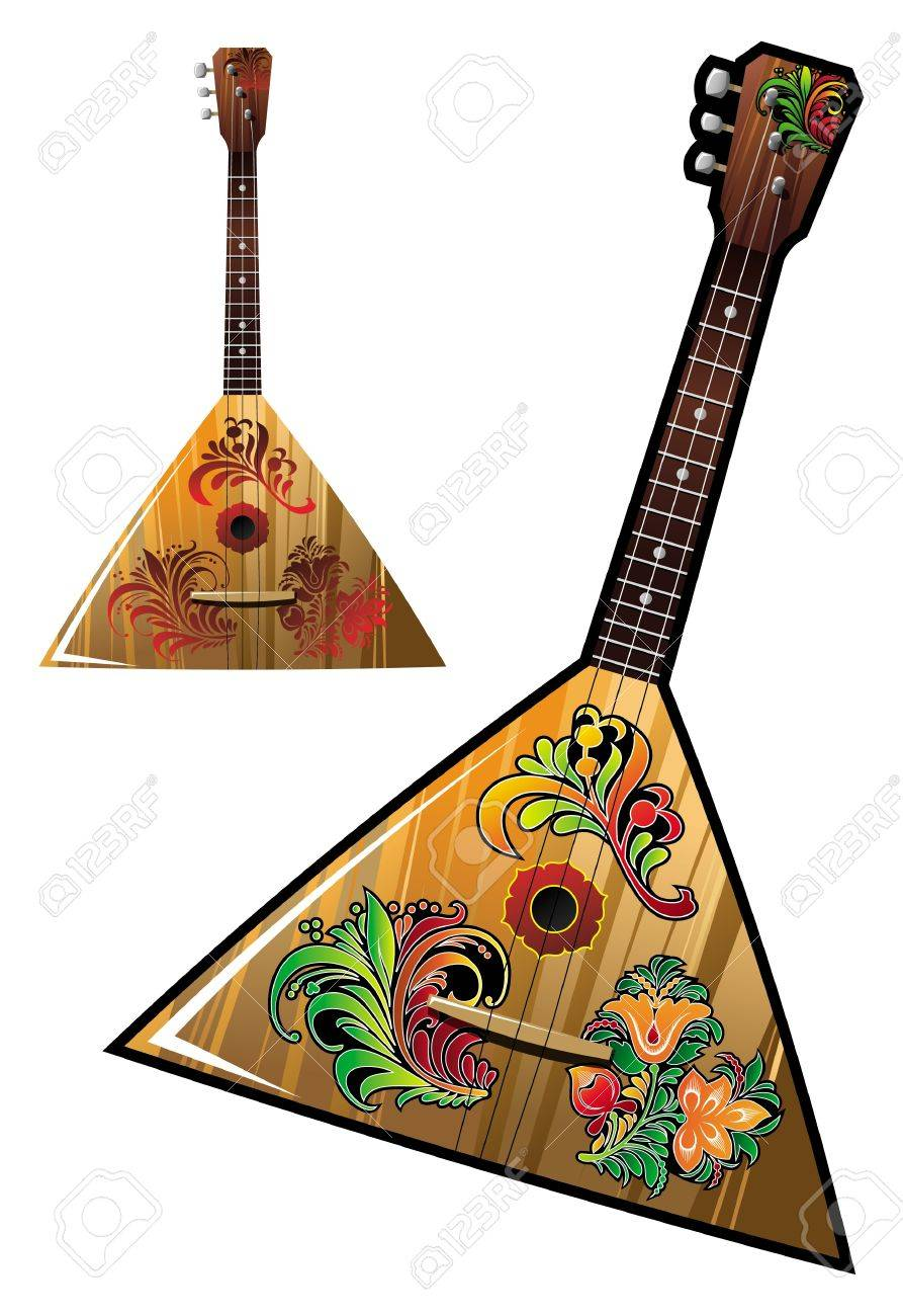 Musical instruments ornaments - Russian National Music Instrument Balalaika With Flower Ornaments Vector Illustration Stock Vector 13393558
