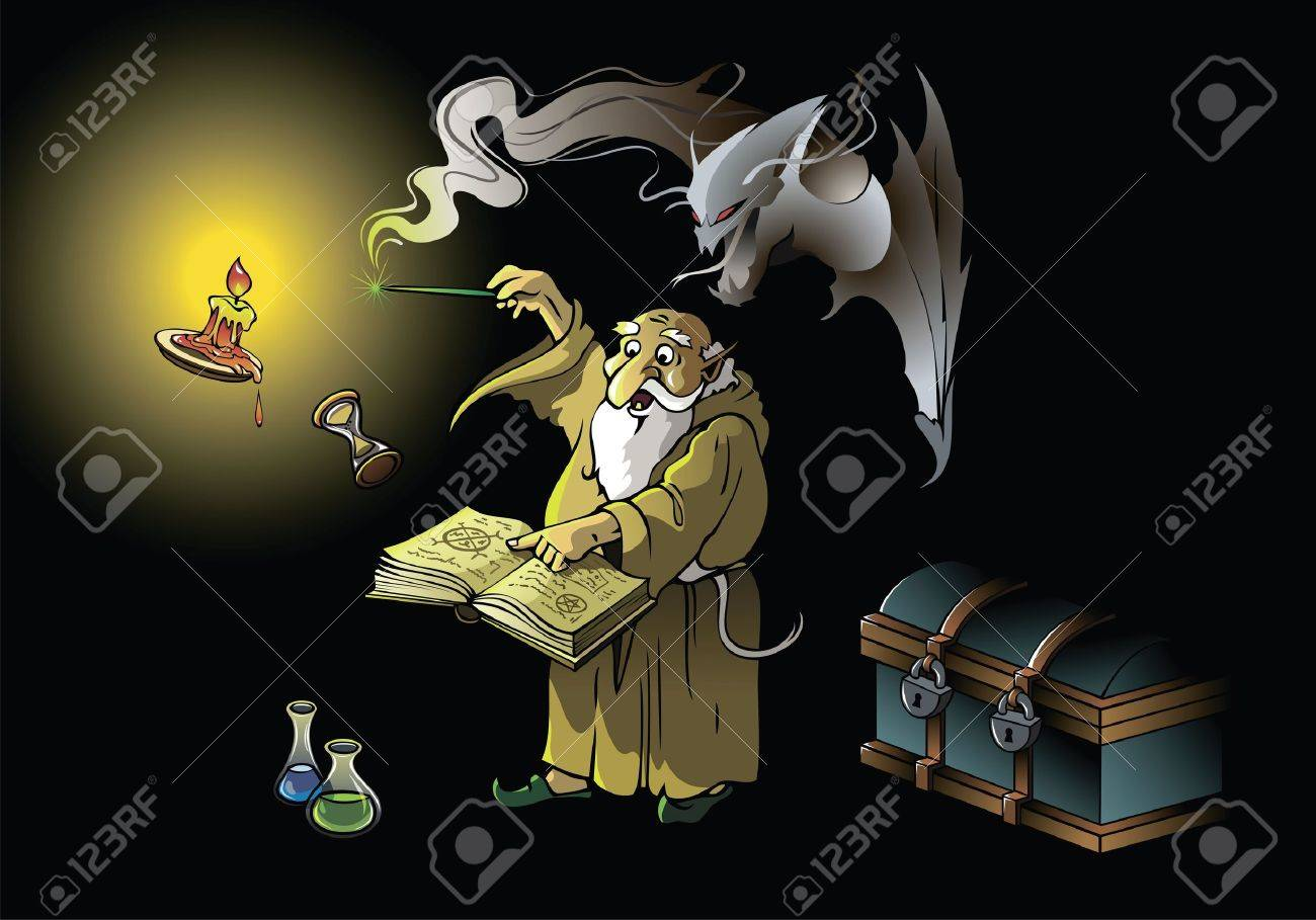 A wizard summoning ghostly demon, casting spells with magic wand, vector illustration - 13484835