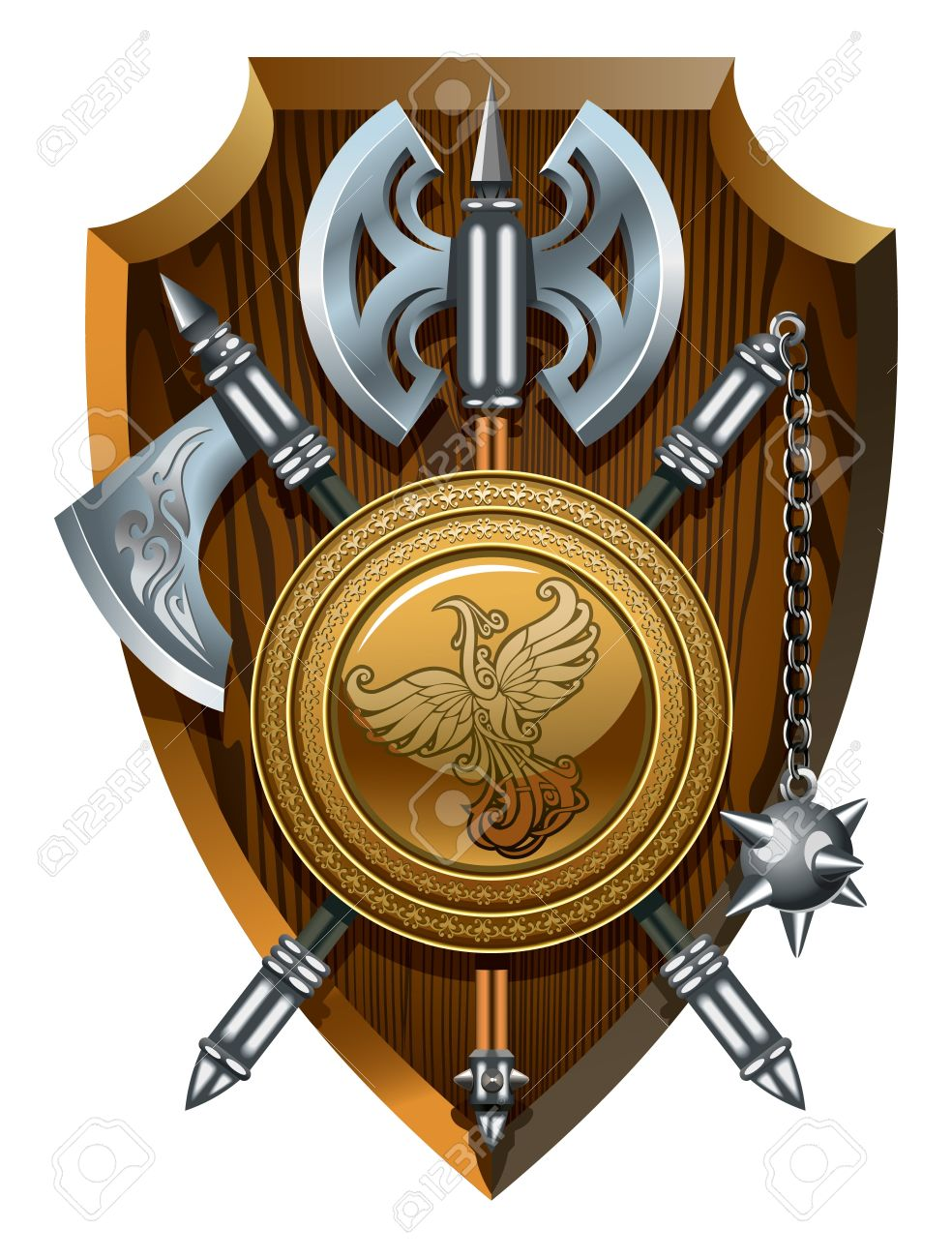 Coat of arms  labrys, axe, Morgenstern and shield, Stock Vector - 13831672