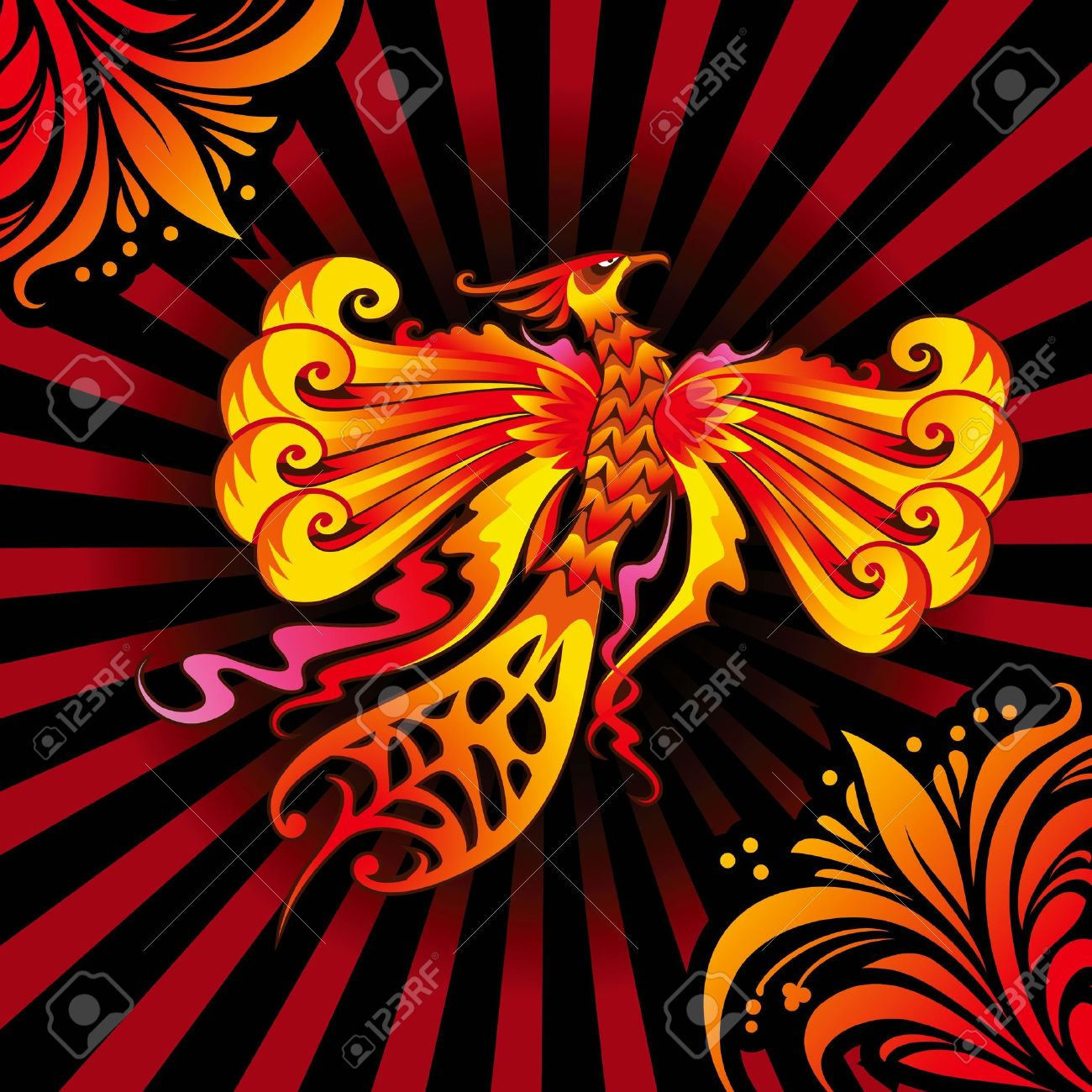 Mythical Phoenix or flaming bird,  illustration Stock Vector - 14651458