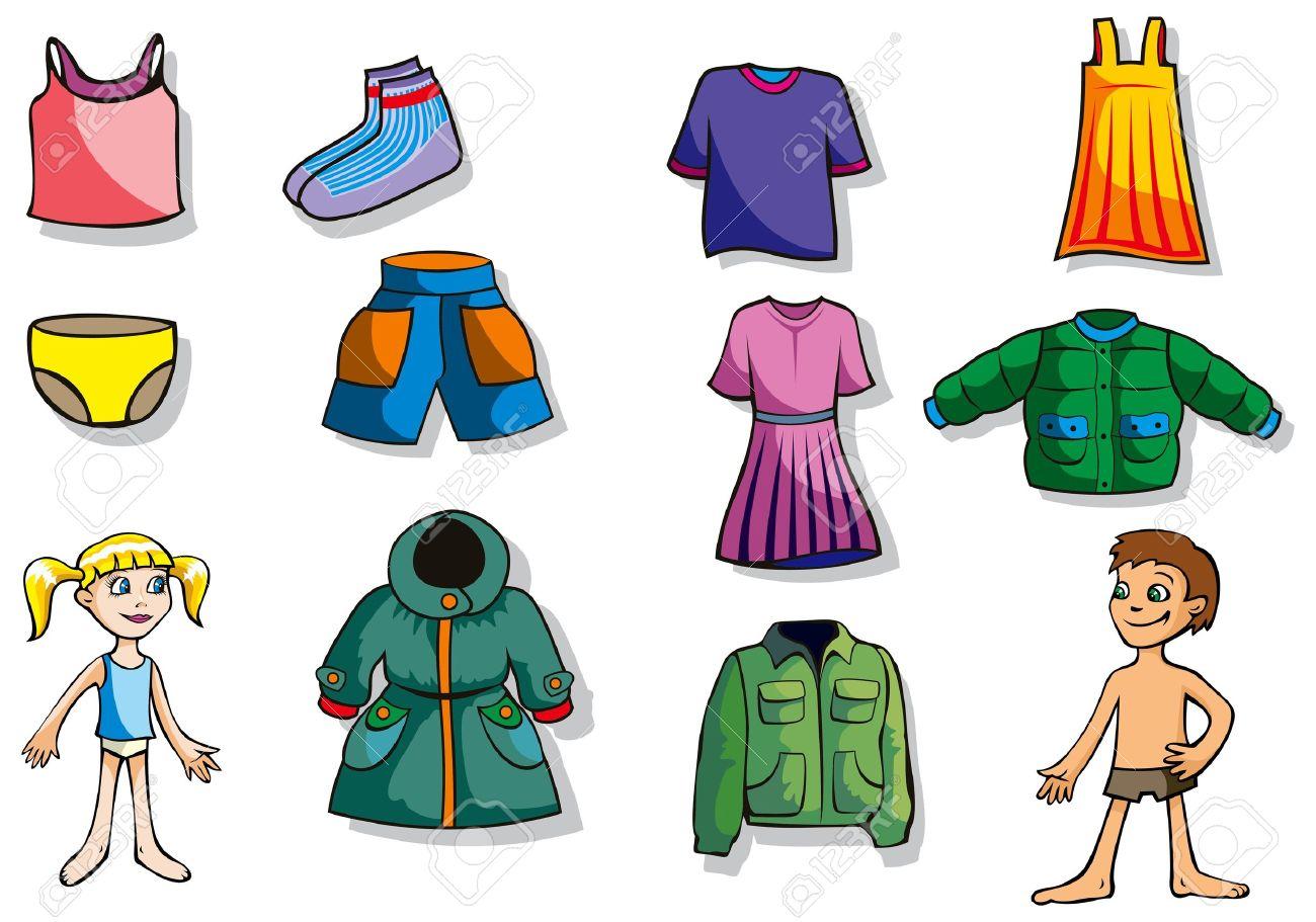 ea9488f31 Conjunto de ropa de dibujos animados para los niños y niñas, ilustración  vectorial Foto de