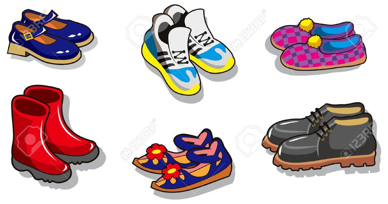 Conjunto de dibujos animados zapatos diferentes, ilustración vectorial Foto  de archivo , 15834159