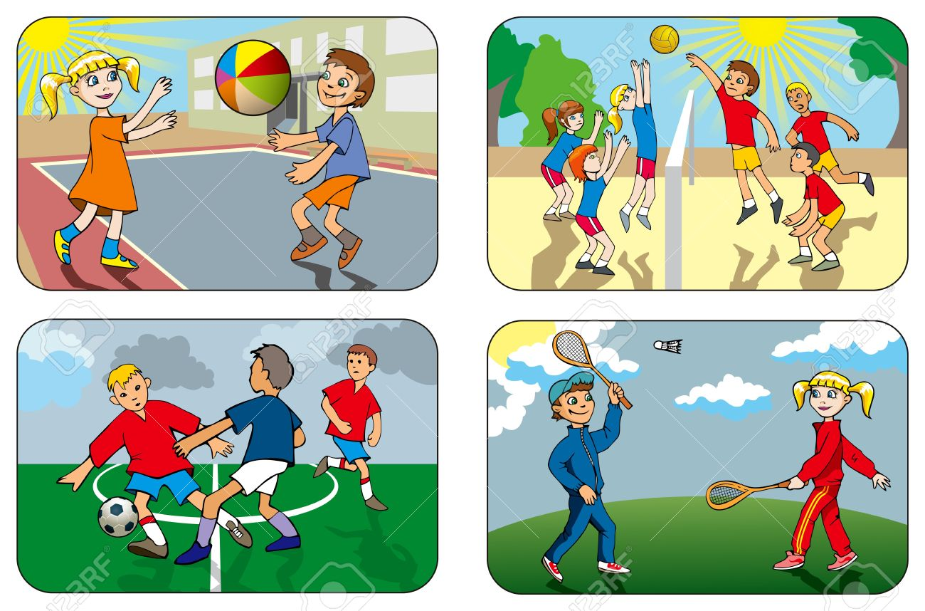 Children Play Different Outdoor Games, Volleyball, Soccer ...