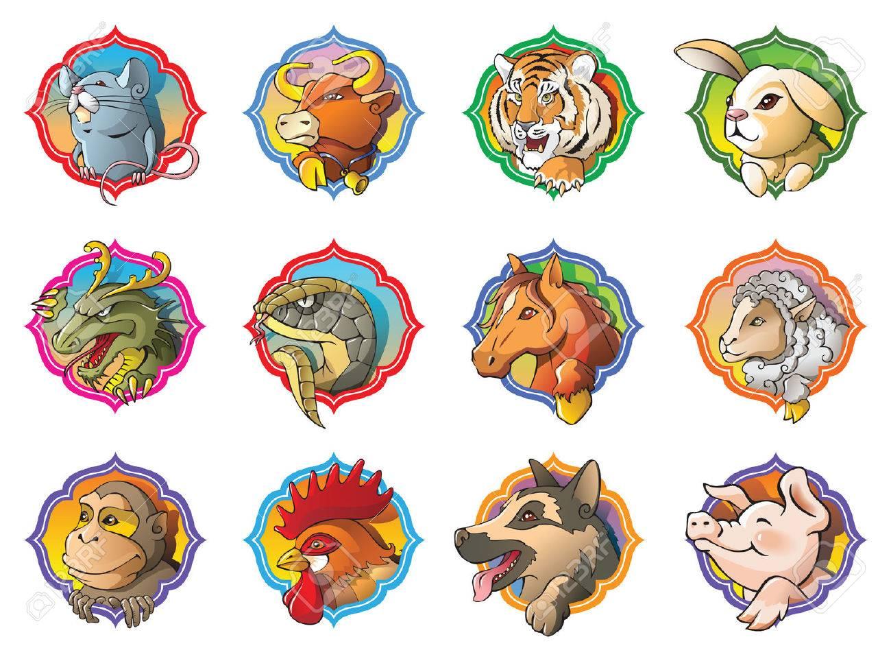 Twelve animals of Chinese horoscope, cartoon vector illustration Stock Vector - 23153576