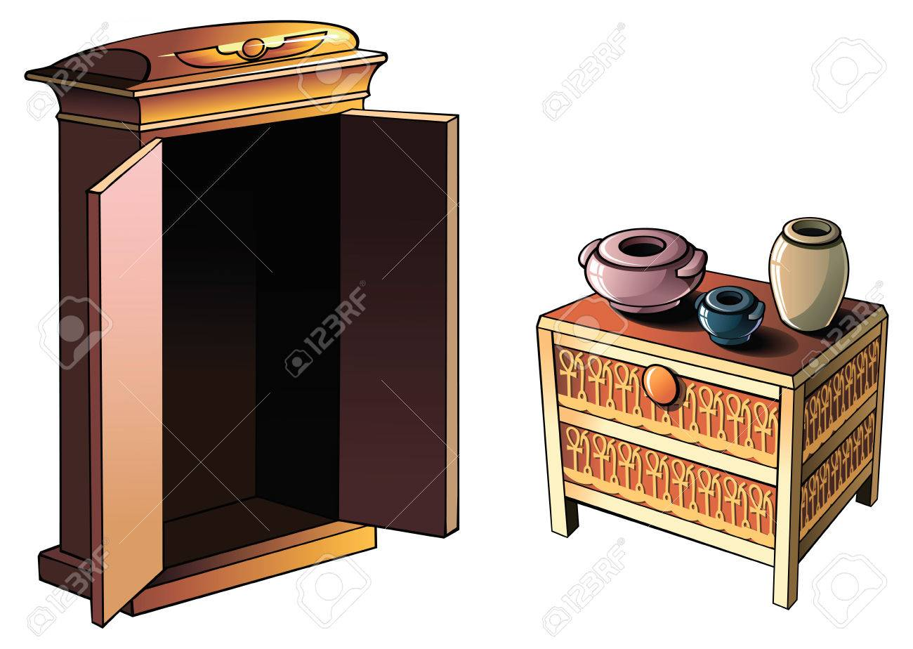 Ancient Egyptian Furniture And Pottery Vector Illustration Royalty