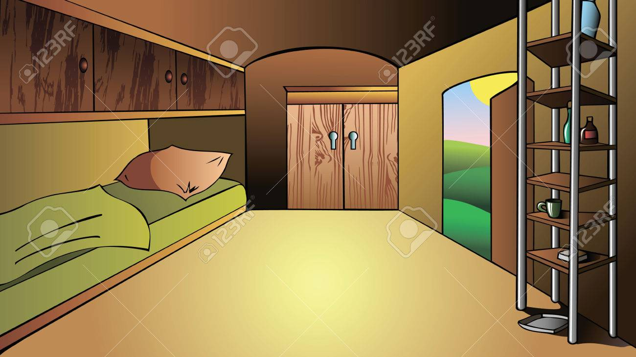Interior Of A Trailer, House On Wheels, Illustration Stock Vector   52127136