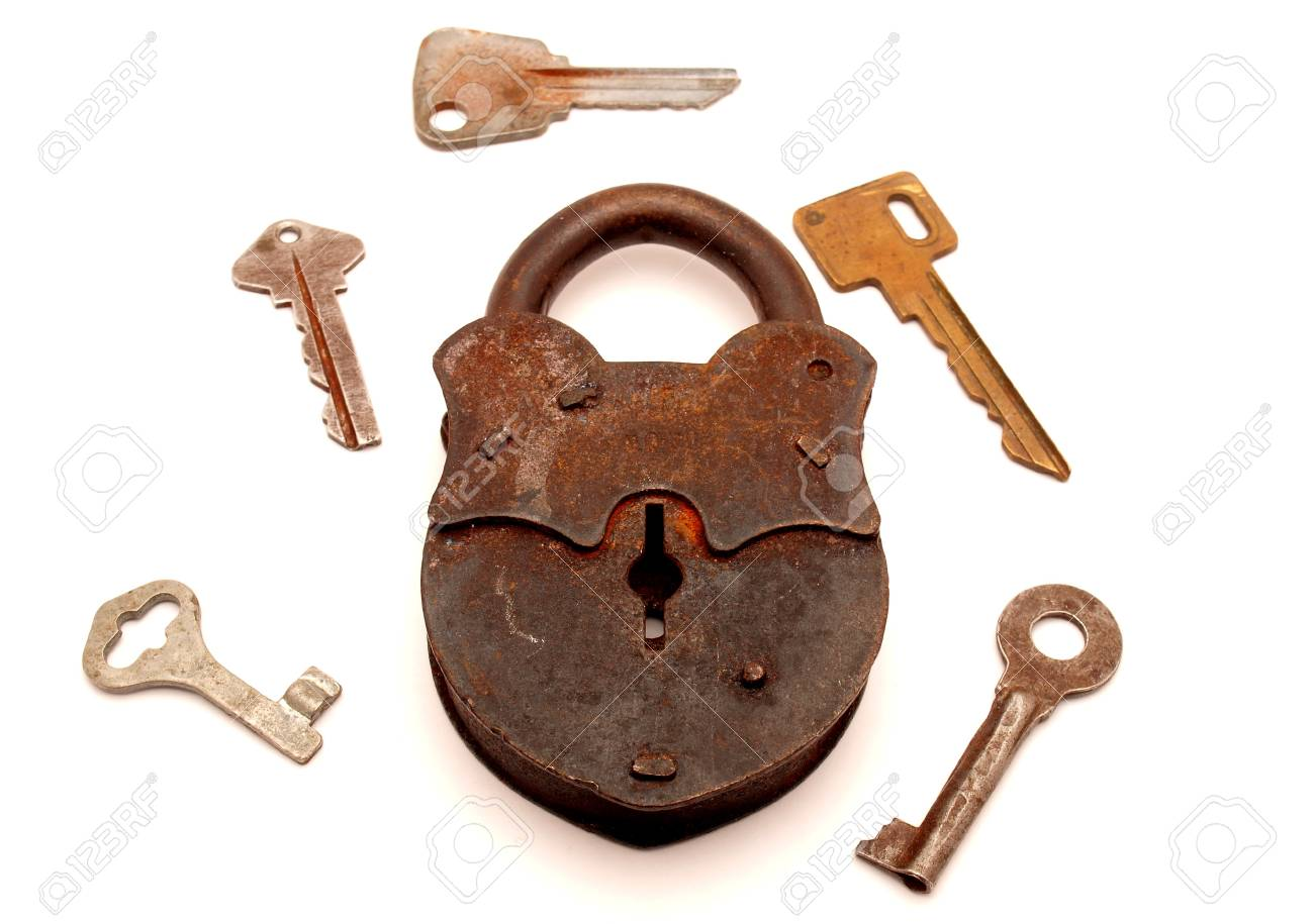 Keys and the lock on a white background Stock Photo - 7727206