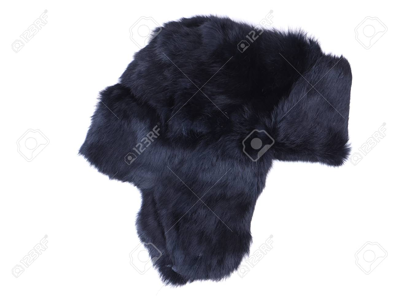 66b00a58d85 fur hat ear flaps on the white background Stock Photo - 60699276