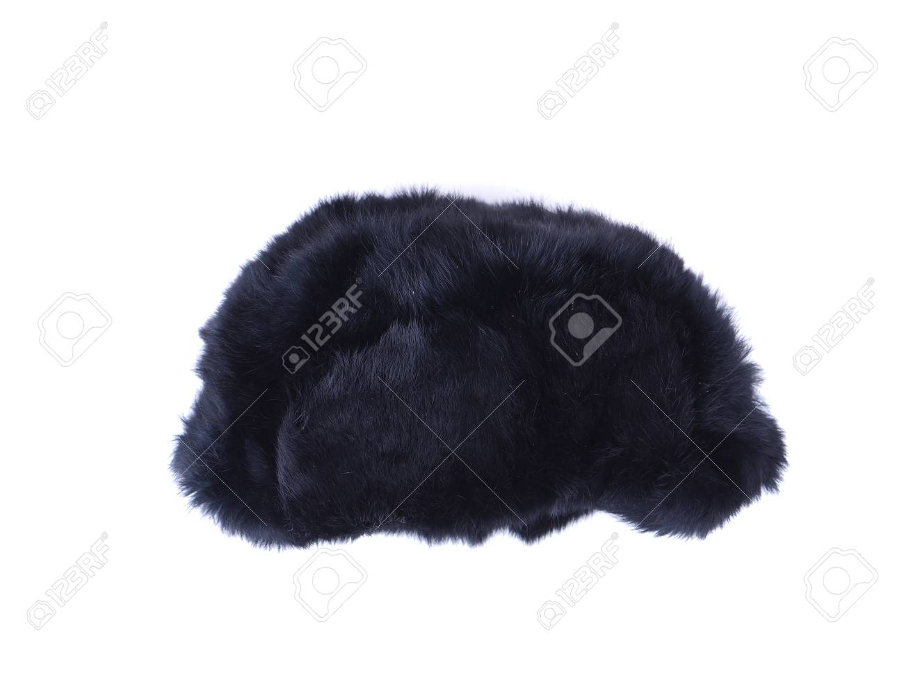 c01bf6a47d1 fur hat ear flaps on the white background Stock Photo - 60700167
