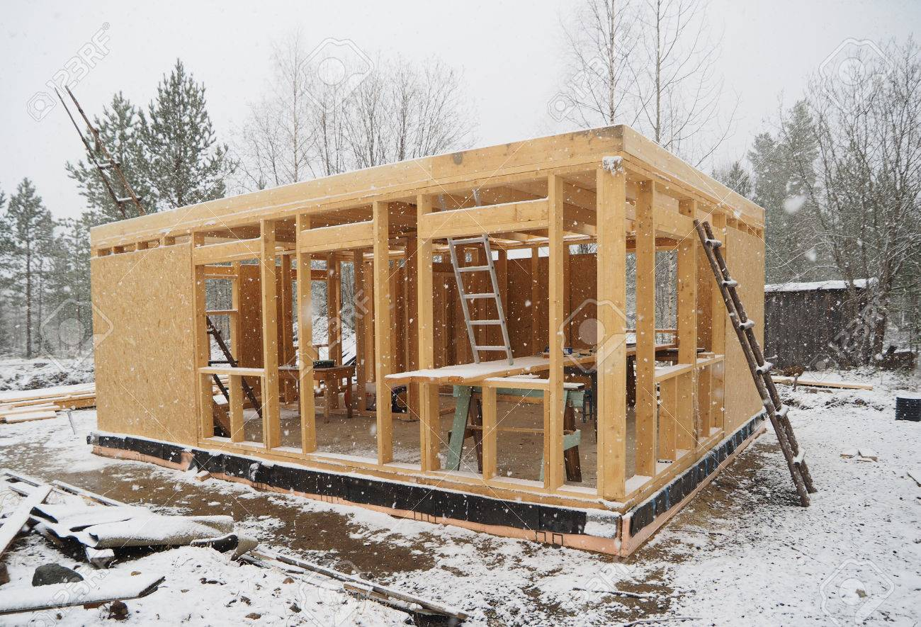 Construction Of A Frame House Stock Photo, Picture And Royalty Free ...