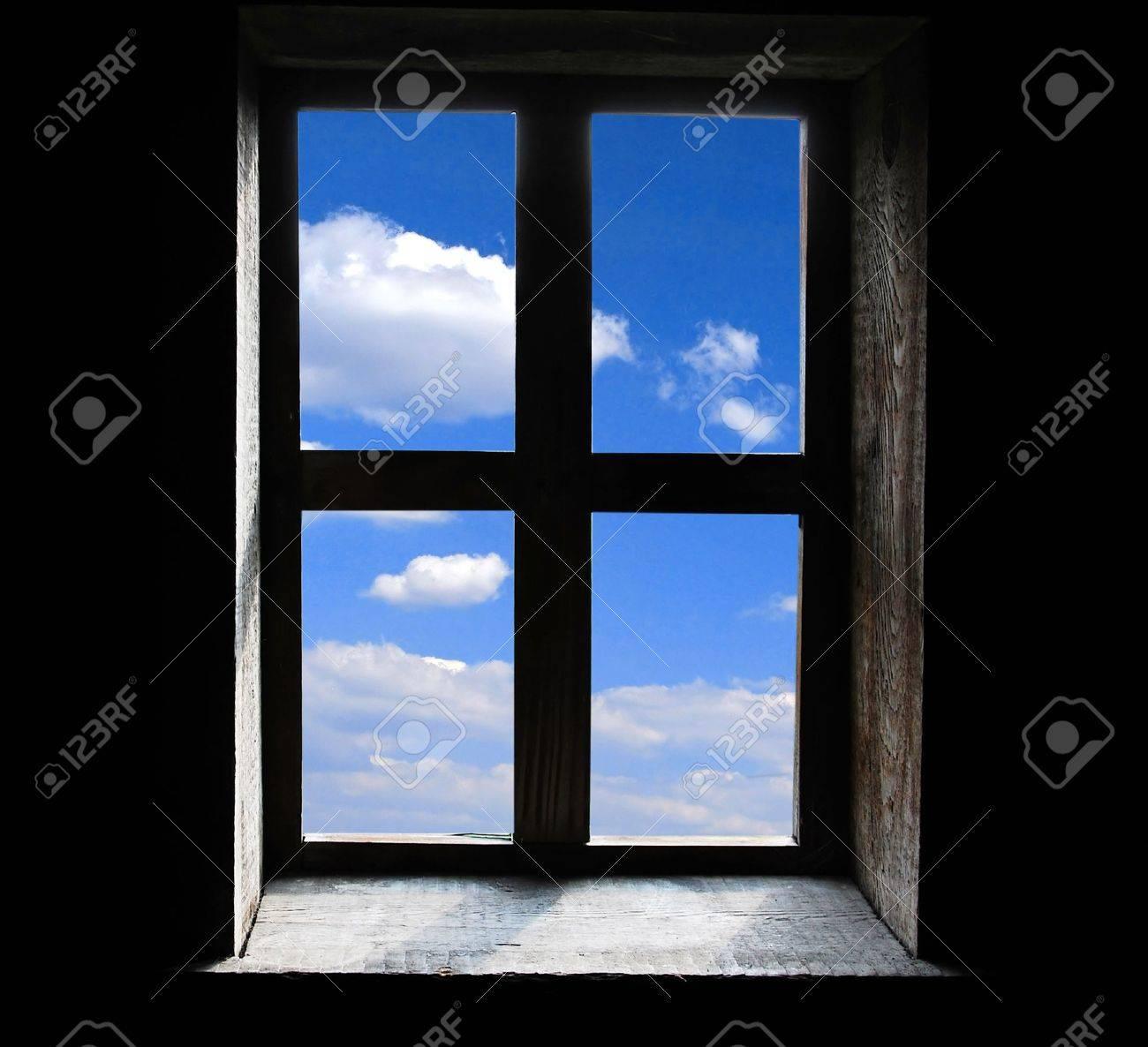 Window on black background Stock Photo - 9994991