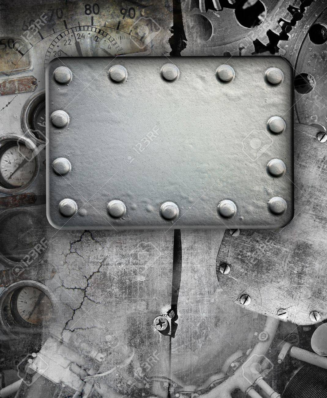 Industrial grunge background, metal plate with rivets Stock Photo - 11299336