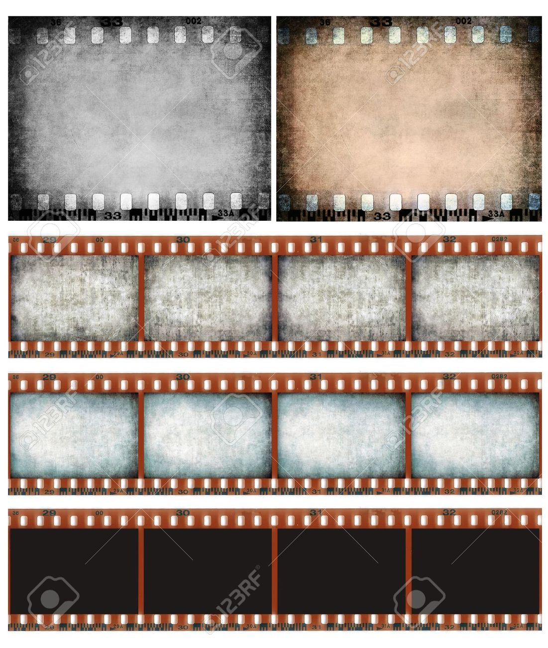 Grunge color filmstrip texture, scratched photo film frame background Stock Photo - 12185059