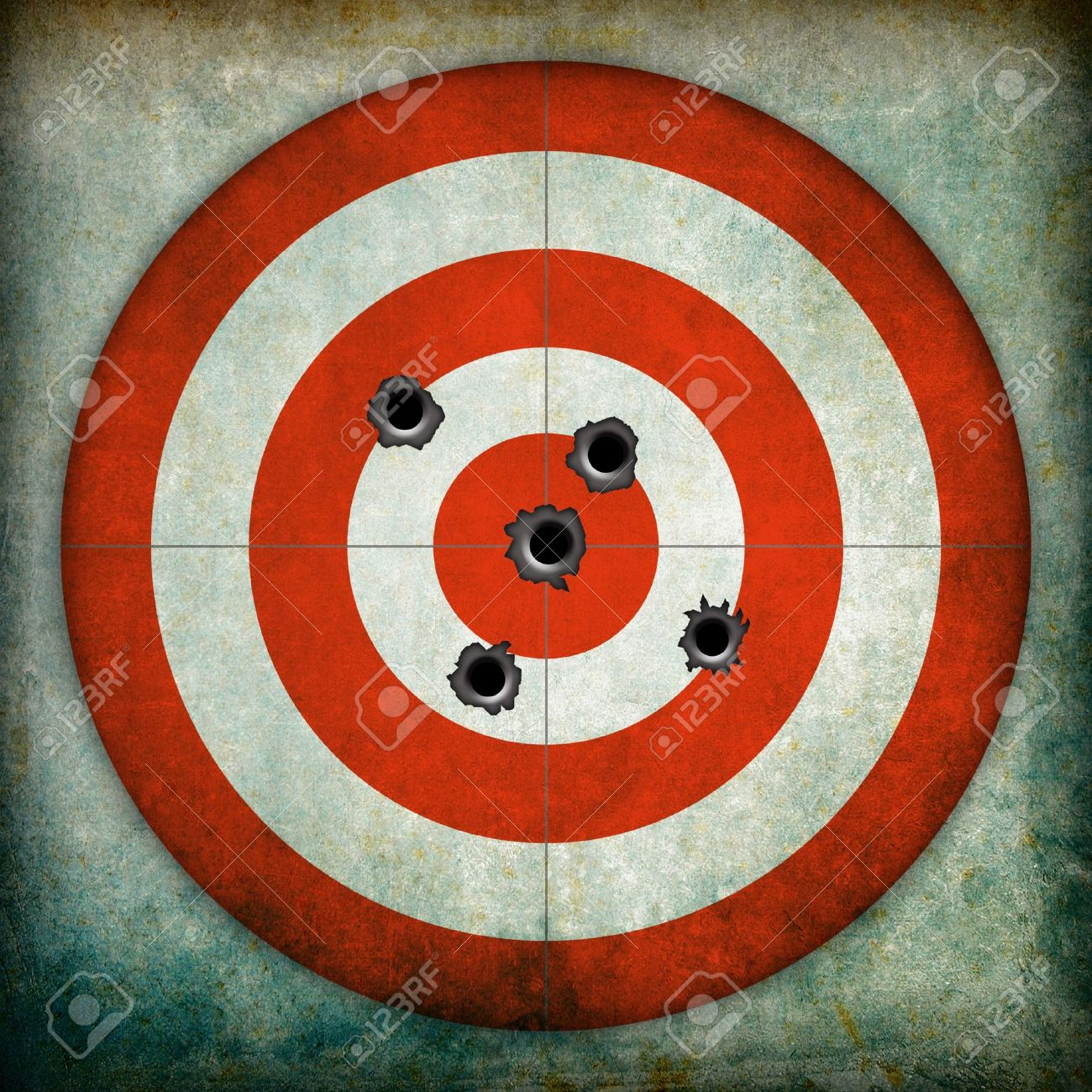 Target With Bullet Holes Grunge Background