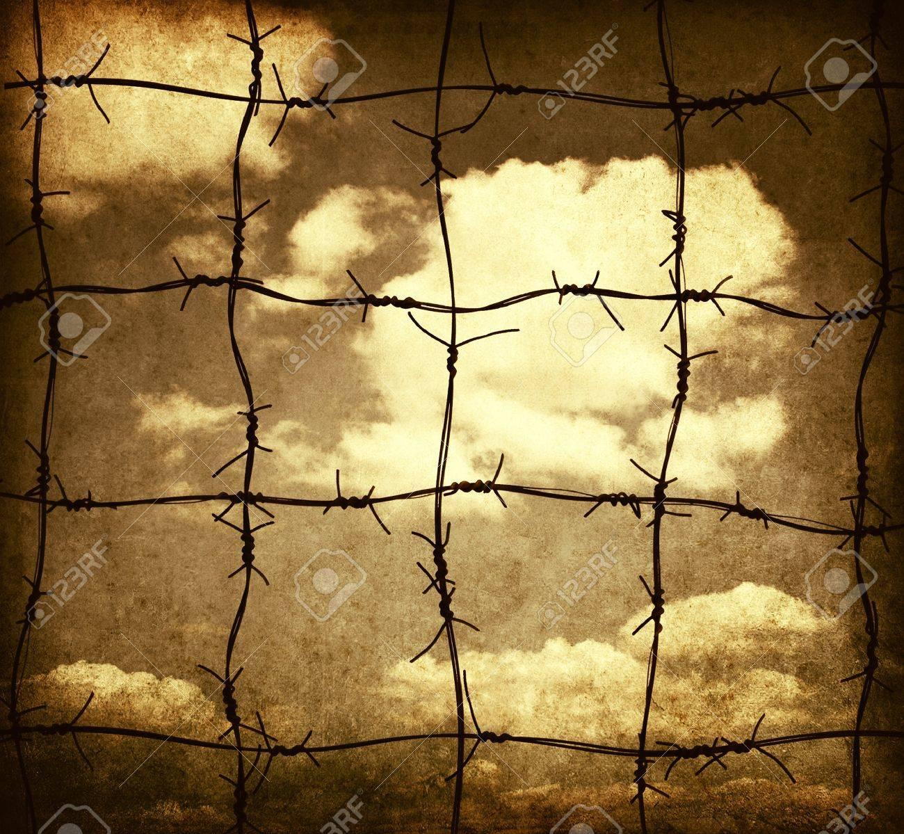 Barbed wire against sky, grunge illustration Stock Illustration - 15104087