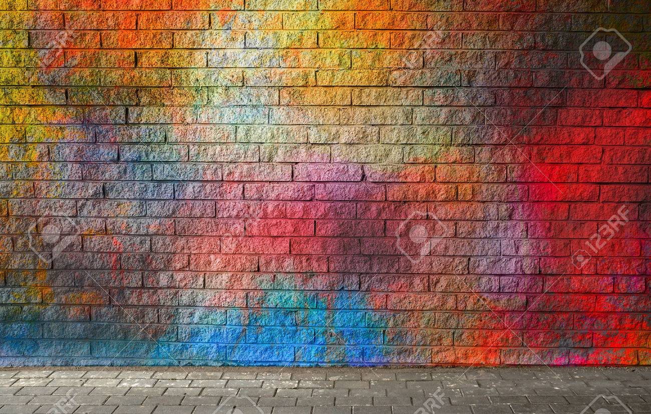 Colorful brick wall background - 69685016