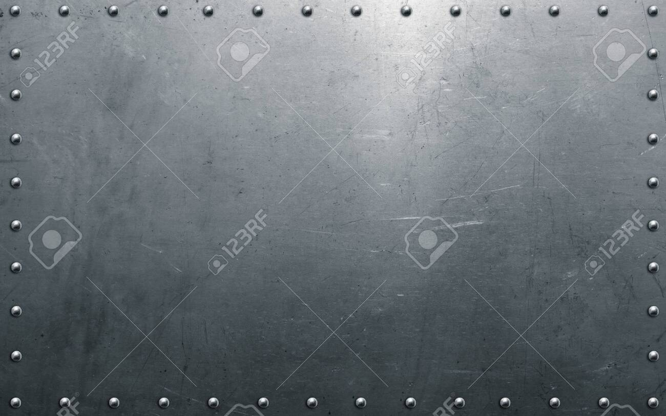 Metal texture, steel background with rivets - 142060781