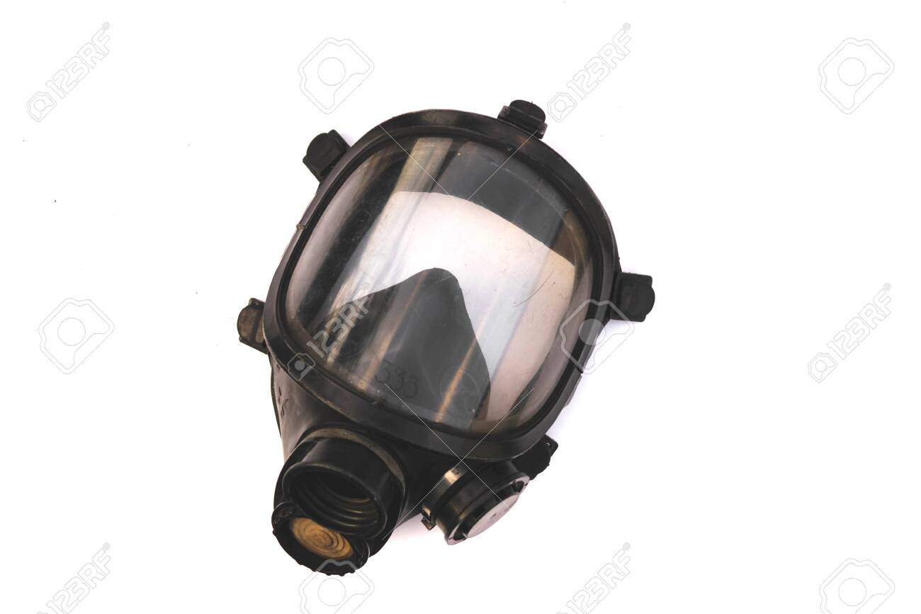 Oxygen mask ,Gas mask ,Firefighters mask of Firefighters in Thailand. Been through the use and very old Isolated on white background - 128969561