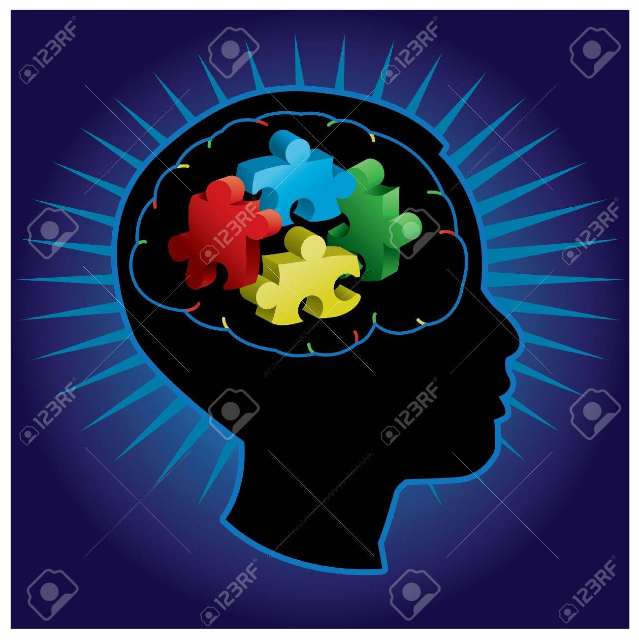 Black silhouette of profiled child with symbolic autism puzzle pieces Stock Vector - 17871805