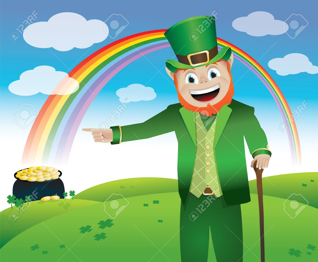 Uncategorized Leprechauns And Rainbows a leprechaun leading you to his pot of gold at the end rainbow stock