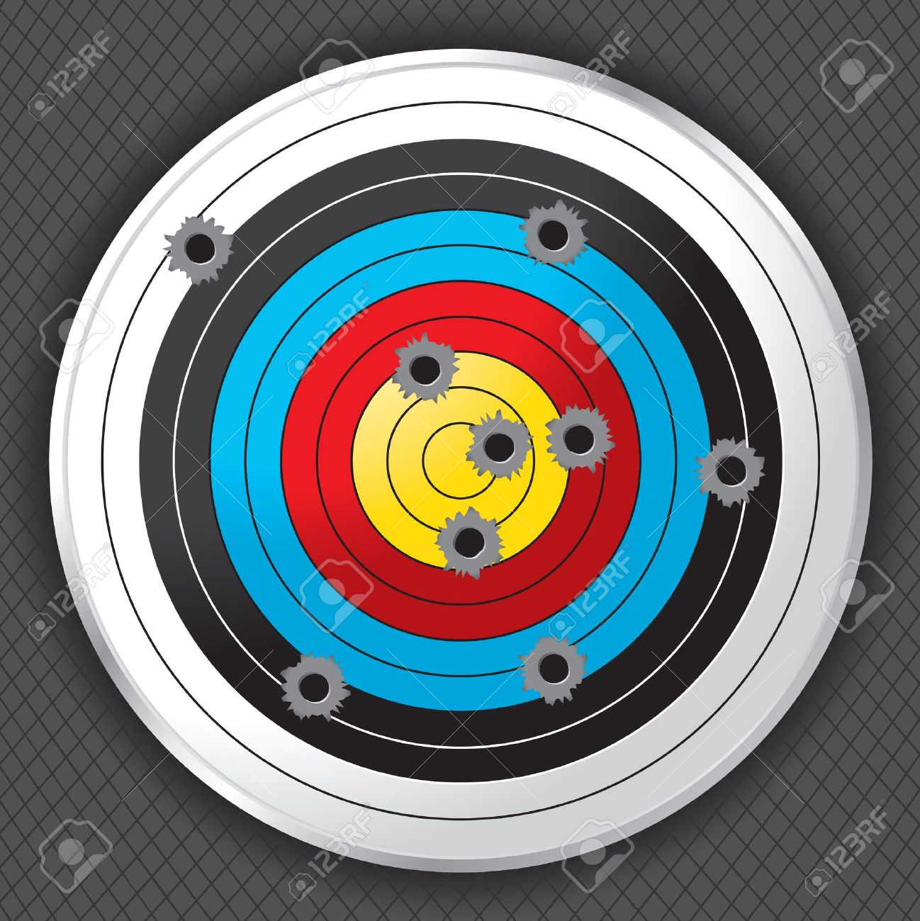 Shooting range target shot full of bullet holes  Bullet holes, target and background are layered for easy separation Stock Vector - 18084292