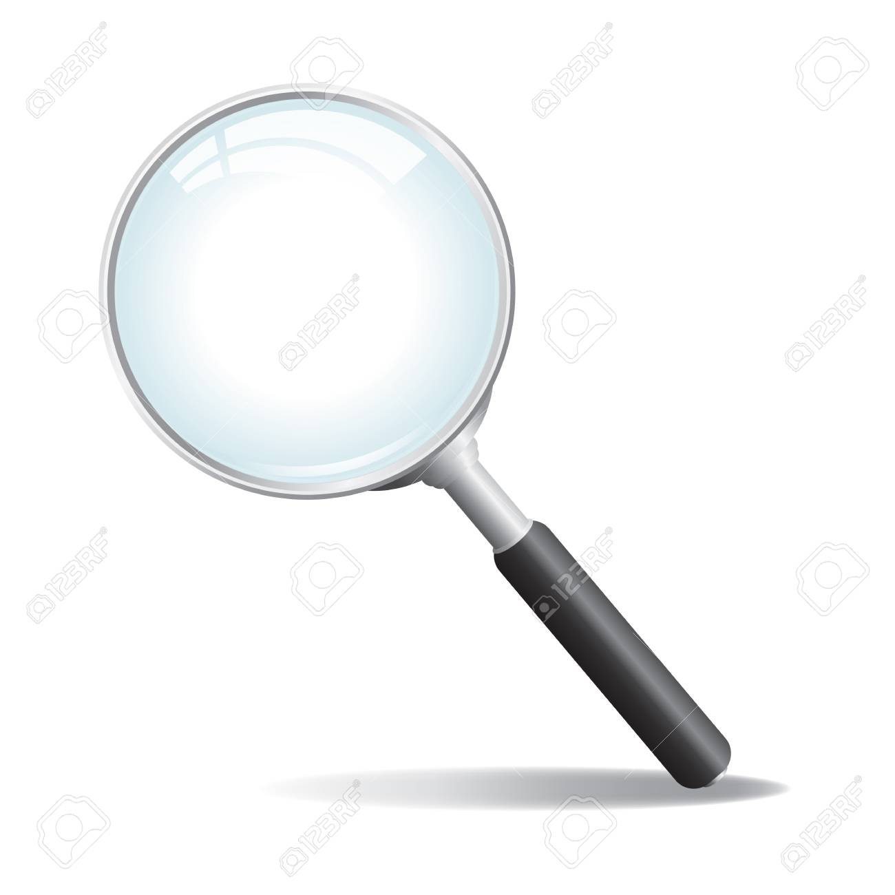 A silver colored  magnifying glass with black handle Stock Vector - 18223576