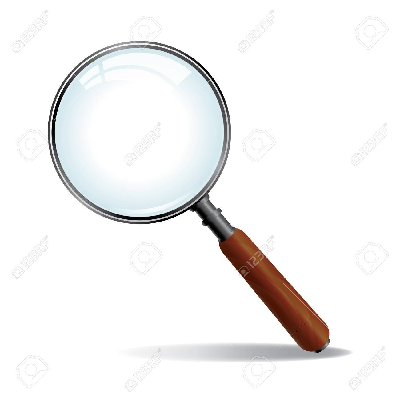 A brushed nickle metal magnifying glass with wood grained handle Stock Vector - 18223579