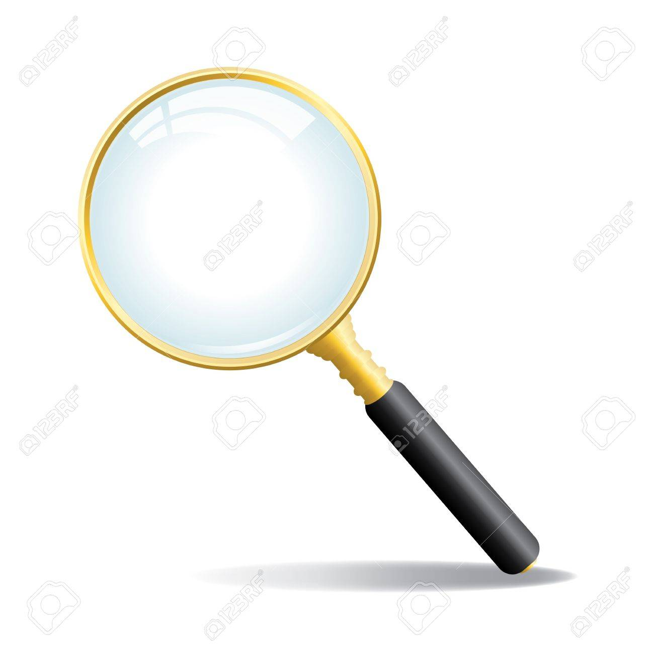 A gold colored magnifying glass with black handle Stock Vector - 18223575