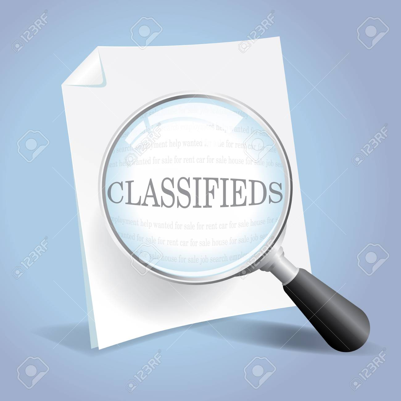 Taking a closer look through the classified ads Stock Vector - 18620681