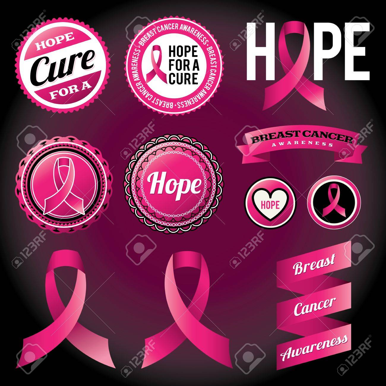 Breast Cancer Awareness ribbons and badges  Vector EPS 10 file available Stock Vector - 19842686