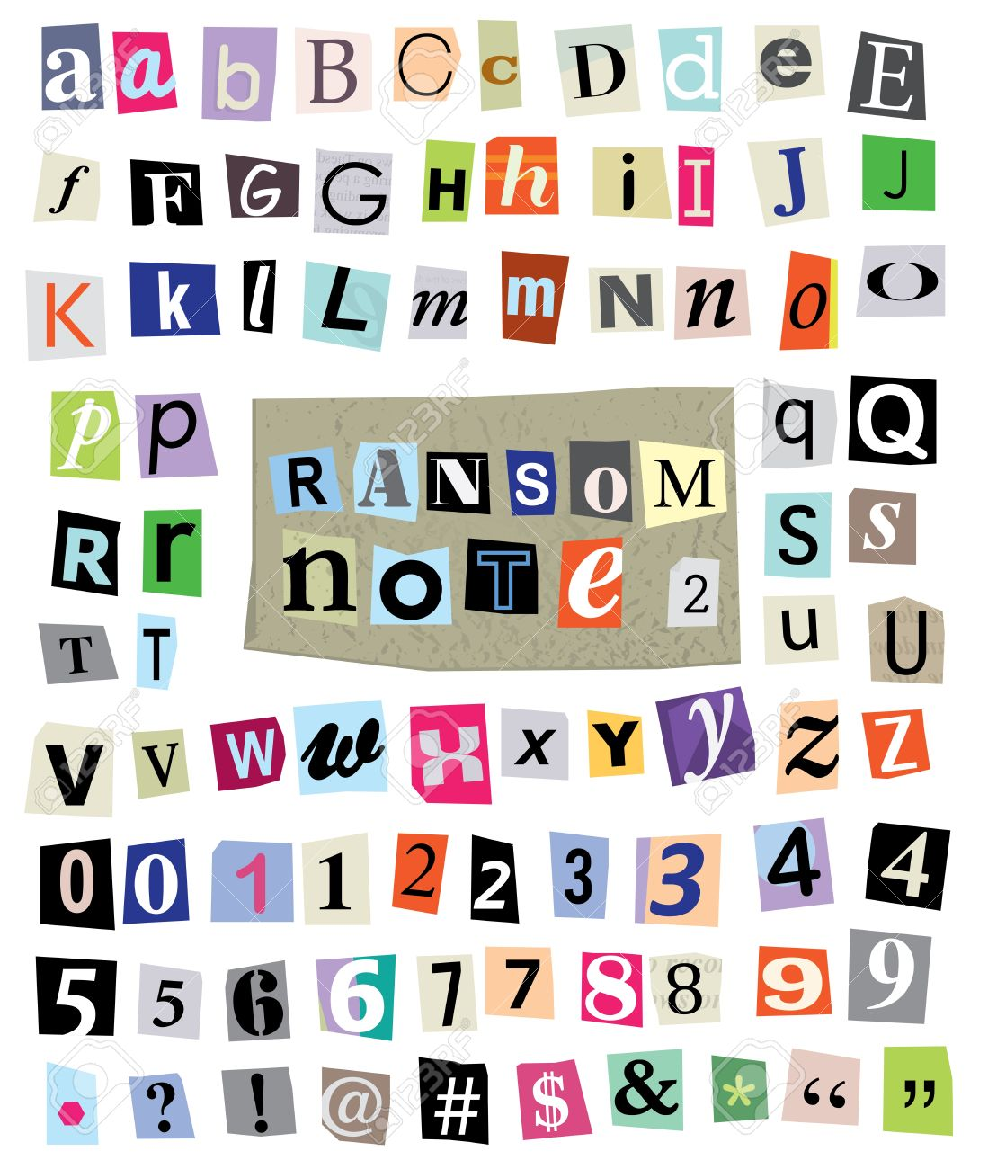 Cut newspaper and magazine letters numbers and symbols mixed cut newspaper and magazine letters numbers and symbols mixed upper case and lower spiritdancerdesigns Images
