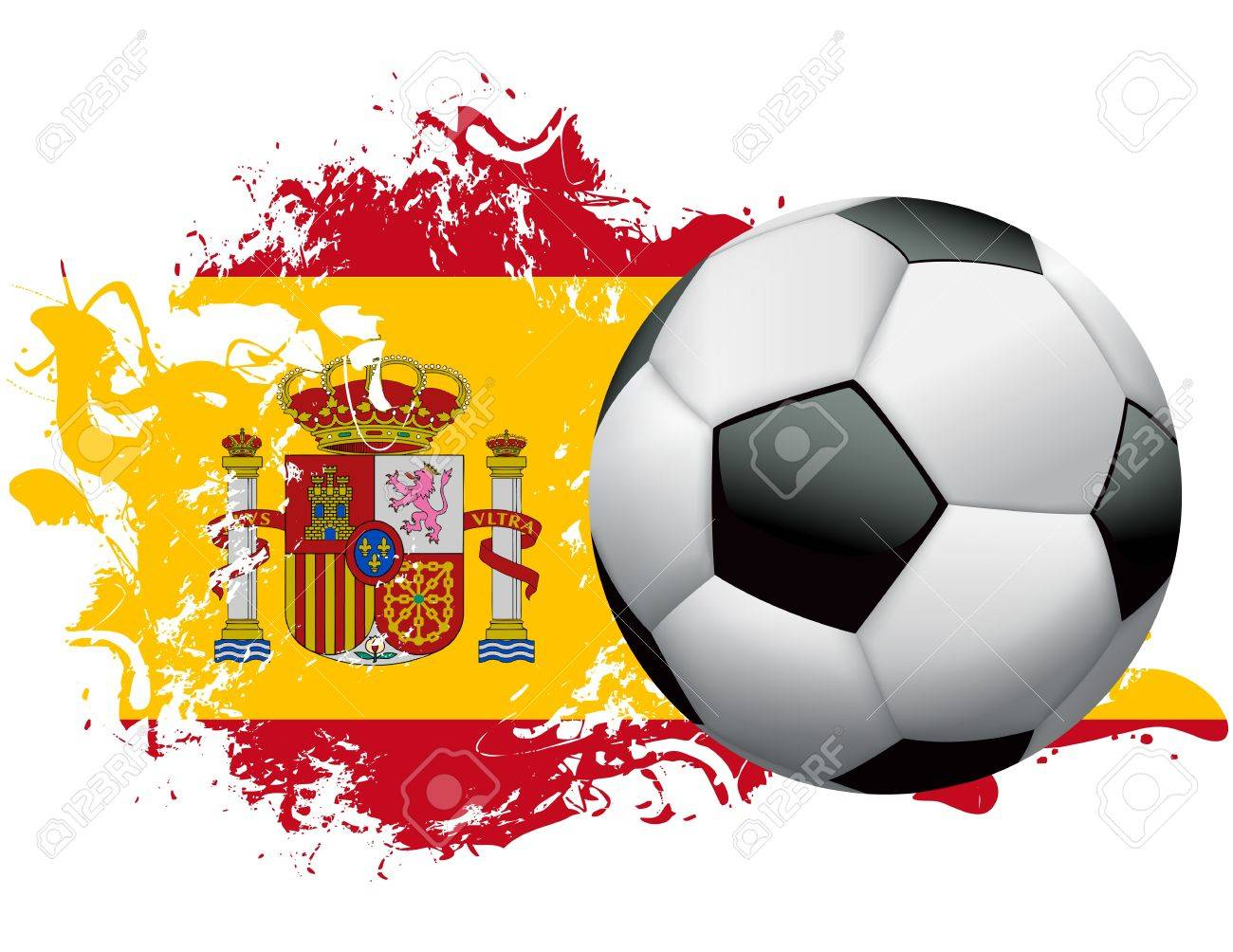 Soccer ball with a grunge flag of Spain. Vector EPS 10 available. EPS file contains transparencies and gradient mesh. Stock Vector - 21618681