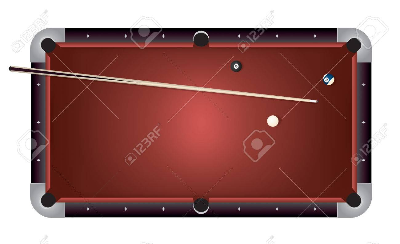 A Realistic Billiards Pool Table Illustration. Red Felt Top With  Contemporary Composite Black Rails,