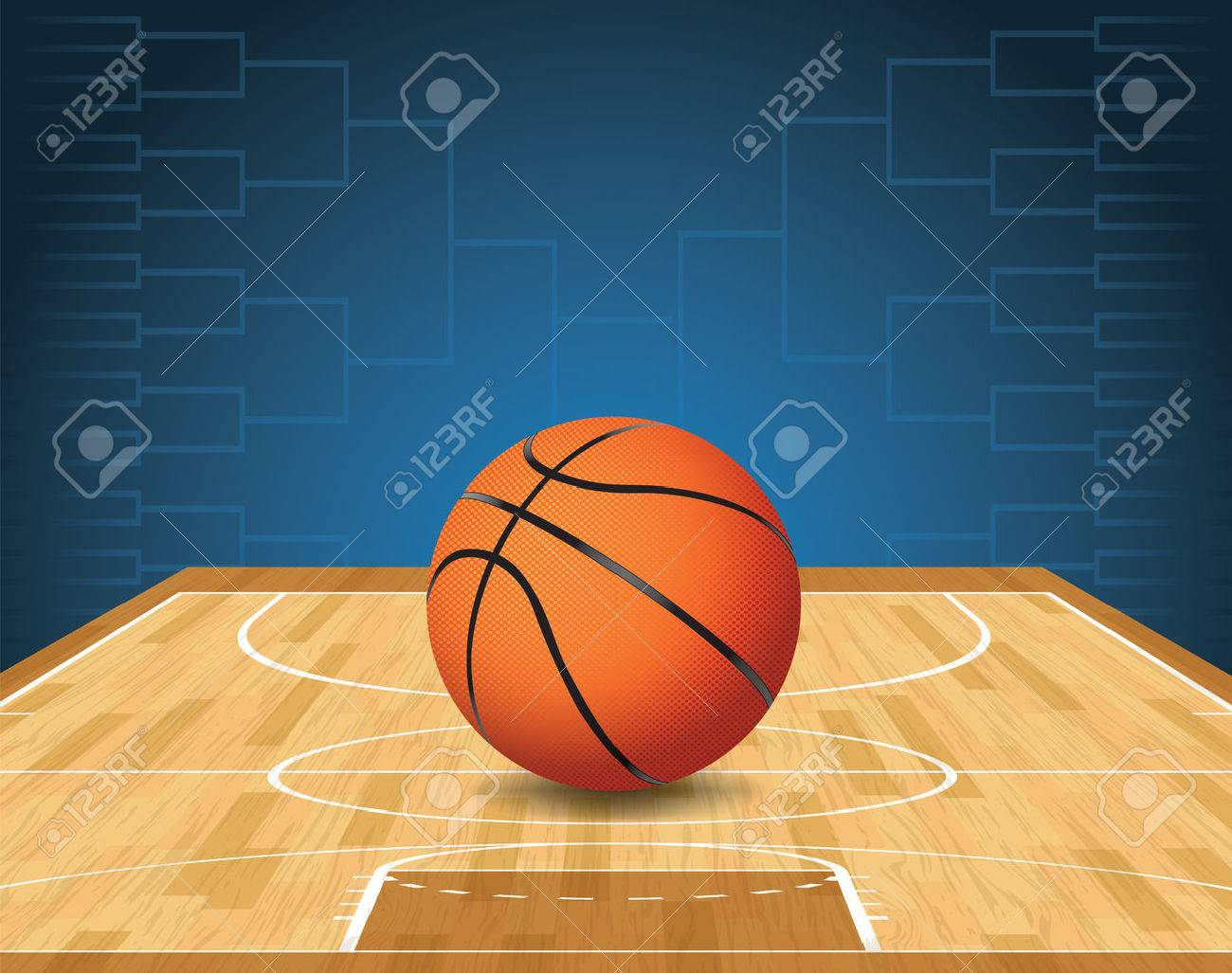 An illustration of a basketball on a court and a tournament bracket in the background. Vector EPS 10 available. EPS file is layered and contains transparencies. - 35487390
