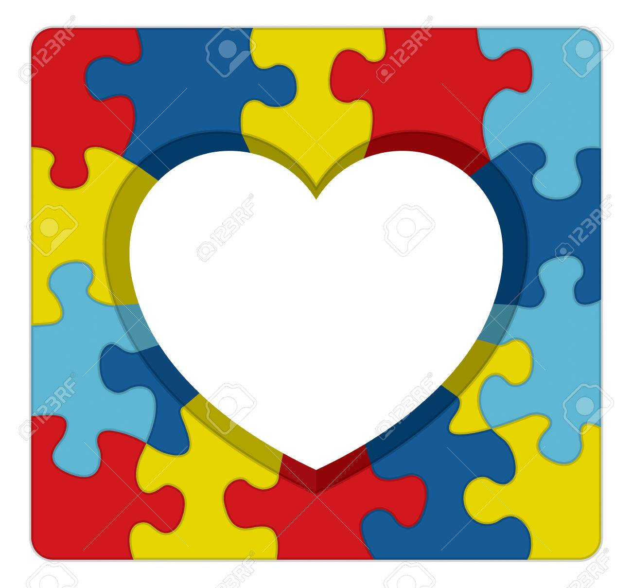 A Symbolic Puzzle Heart Illustration For Autism Awareness Vector