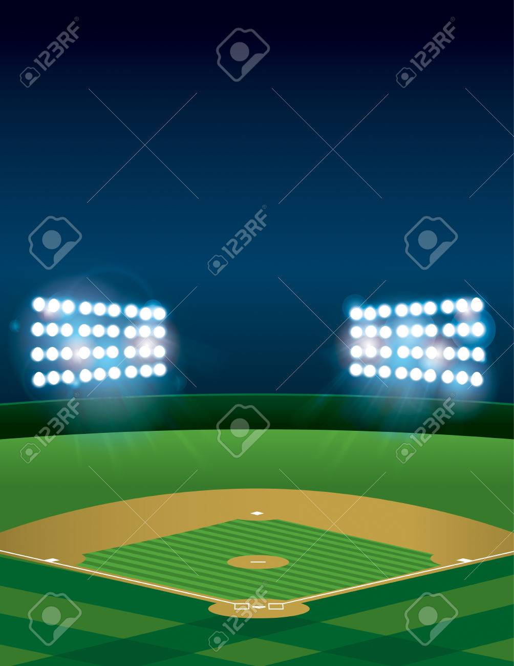 A Lit Baseball Or Softball Field Stadium At Night Vector Available File Contains Transparencies