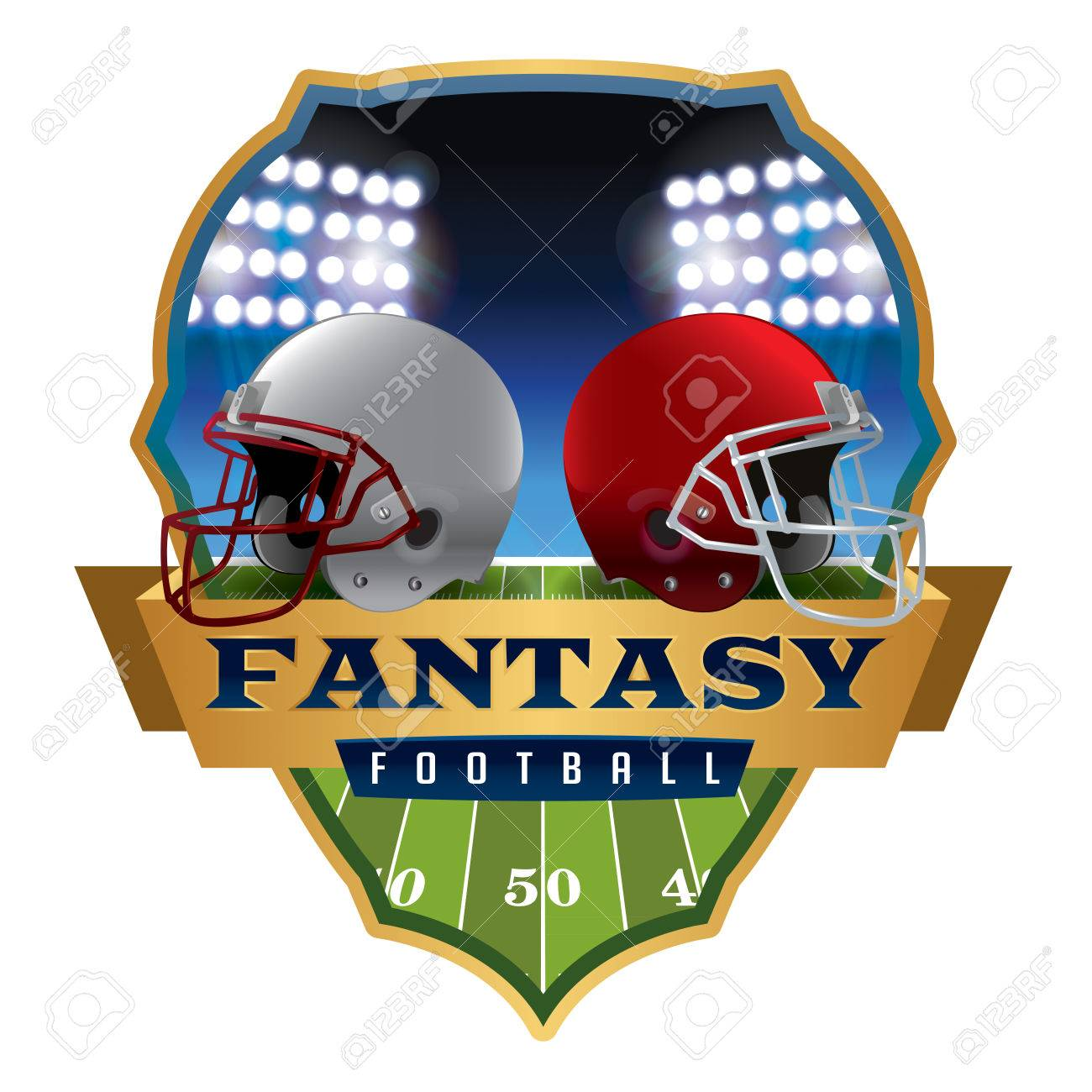 An illustration of an American fantasy football helmets and badge. - 43060174