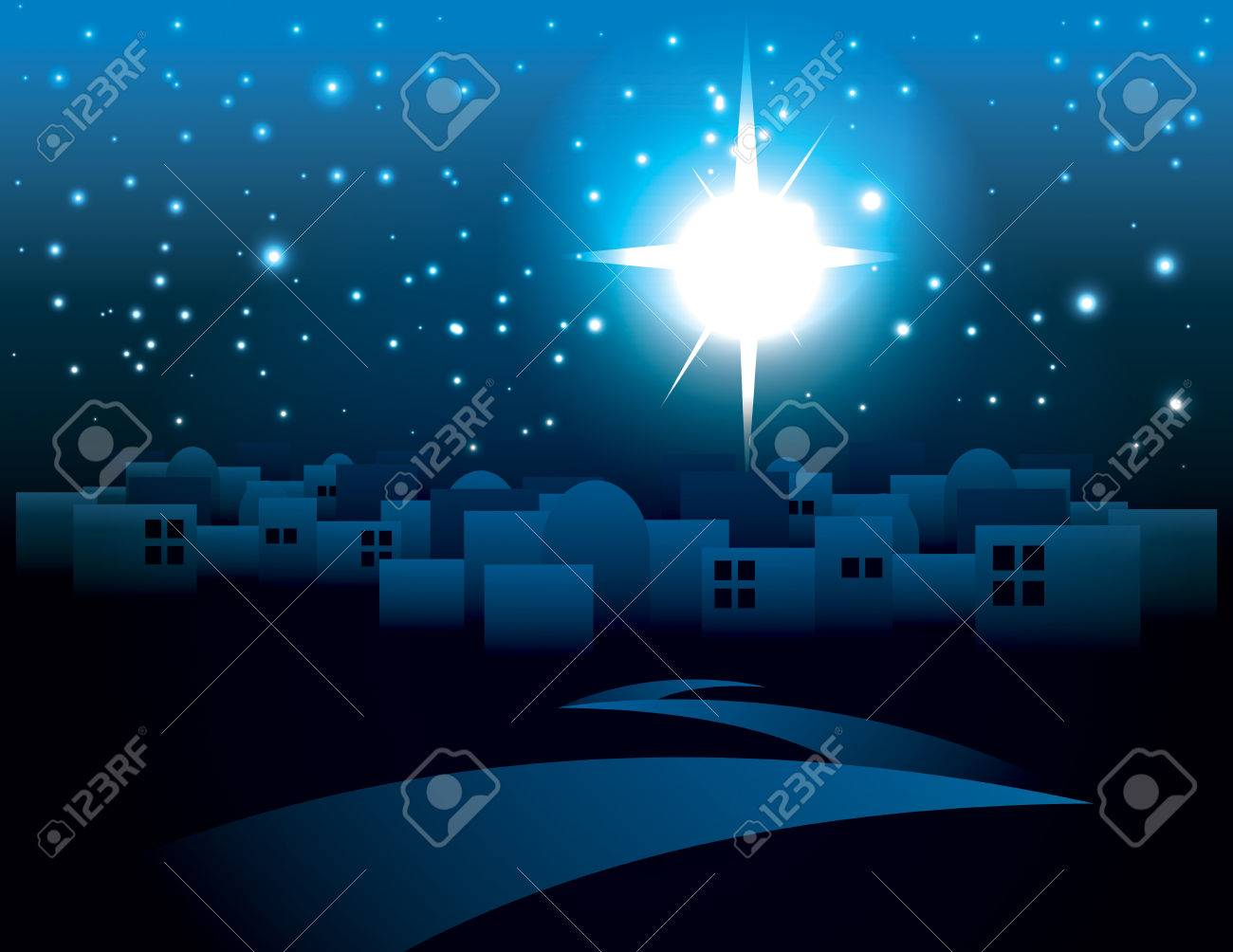An illustration of a dark Bethlehem illuminated by the Christmas star of Christ. Vector EPS 10 available. EPS contains transparencies. - 44145316