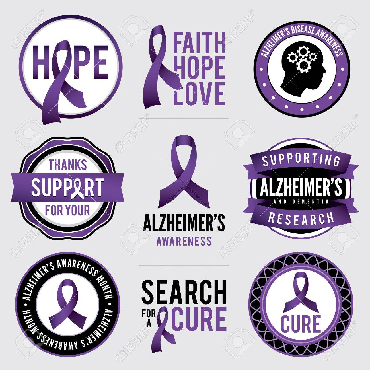 A set of Alzheimer\'s disease awareness badges and labels. - 44693875